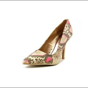 Qupid Faux Leather Multicolored Heels